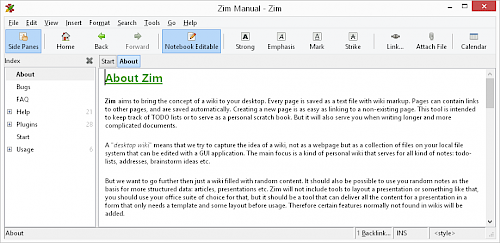 screenshot of Zim Desktop Wiki